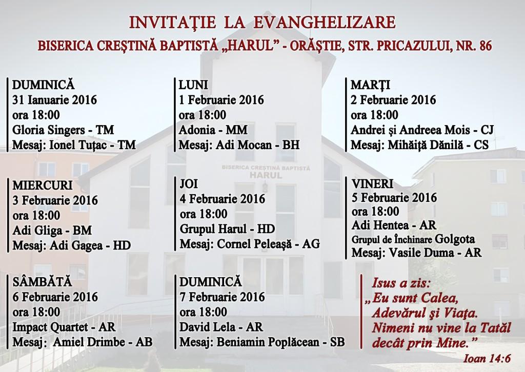Invitaţie la evanghelizare Orăştie