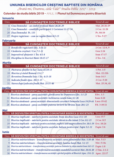 Calendar Studiu Biblic Ianuarie-Iunie 2019